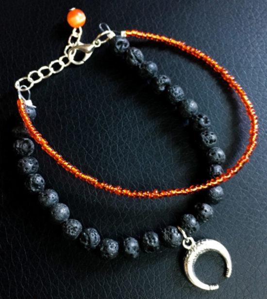 bracelet lave lune rouge