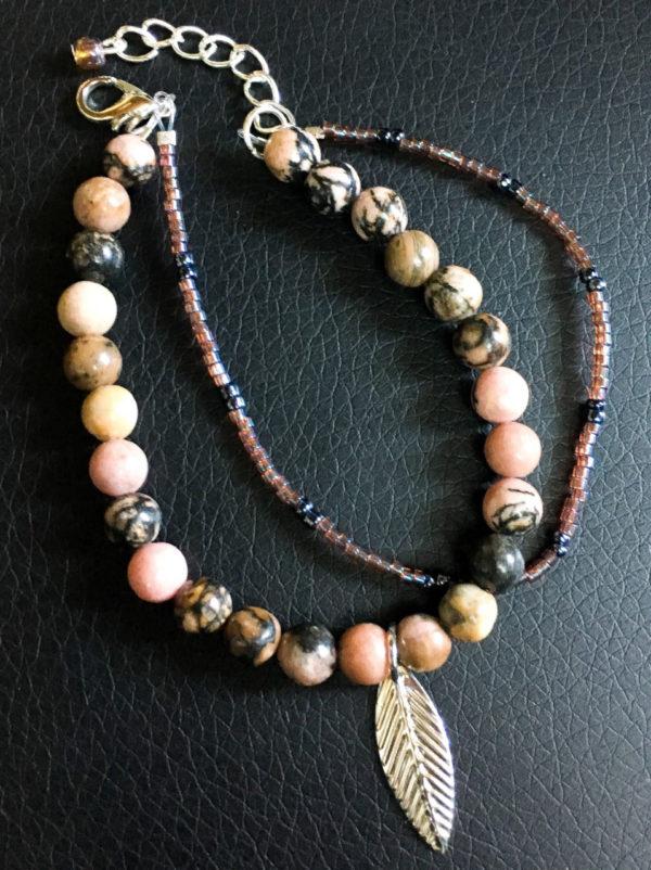 bracelet rhodonite feuille